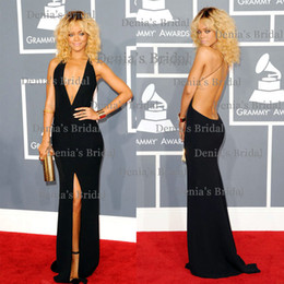 Wholesale 2014 Sexy Sheath Vestidos Halter Deep V Neck Sleeveless Backless Grammy Awards Side Slit Sweep Train Black Celebrity Dresses Rihanna Dhyz