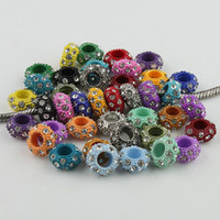 Wholesale 100pcs Clear Rhinestone Crystal Mixed Colors Alloy Rondelle Spacer Big Hole Charm European Beads For Making Jewelry Bracelets