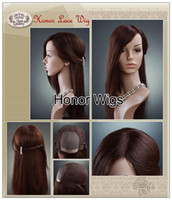 Wholesale HR18 Brown Color Unique Lace Front Wigs Fashionl Womens Wigs Yaki Straight European Style Hair Wigs g inches Chinese Remy Hair