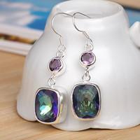 Dangle & Chandelier mystic topaz Bohemian 5 piece lot 925 sterling silver earrings eardrop earbob women fashionable Jewelry E0547