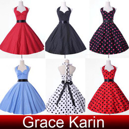 Wholesale GK Stock Cotton Casual Dresses Polka Dots and Floral A Line Short Cocktail Evening Party Dress Halter Design CL4599