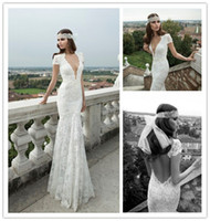 Trumpet/Mermaid Reference Images V-Neck Backless Wedding Dresses by Berta Bridal 2014 Collection Vintage Wedding Dresses Lace Cap Sleeve Mermaid Wedding Dress Garden Wedding Gowns