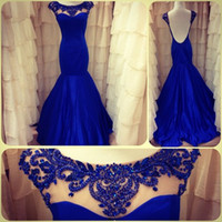 Wholesale 2014 New Arrival Scoop Neckline Cap Sleeve Chiffon Fabric Beads Royal Blue Mermaid Prom Dress Evening Party Gowns with Sexy Backless