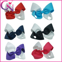 Wholesale 8 inch Large Girls Hair Bows Big Two Tone Ribbon Bow For Kids mix colors CNHB