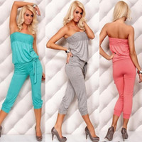 Wholesale 874 spring summer women new fashion color sexy lingerie jumpsuit lady s dress strapless tube top sleepwear home wear cotton drop shop