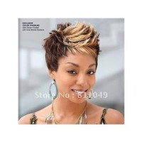 Wholesale New Stylish High Quality Brown amp Blonde Short Curly Lady s Fashion Sexy Synthetic Hair Wig Wigs