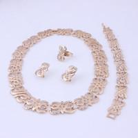 Wholesale Fashion high quality costume jewelry Gold plated rhinestone jewelry sets african dubai wedding accessories vintage necklace set for women