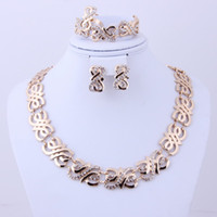 Bracelet,Earrings & Necklace African Women's Free shipping 2014 fashion high quality costume jewelry Gold plated rhinestone jewelry sets african