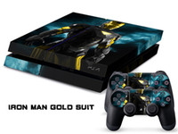 PS4   Vinyl Decal Skin Stickers Wrap For PS4 Play Station 4 Console+ Controllers-Iron Man Gold Suit-0034