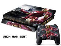 PS4   Vinyl Decal Skin Stickers Wrap For PS4 Play Station 4 Console+ Controllers-Iron Man Gold Suit-0035