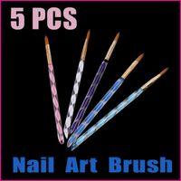 2D Nail Brush Guangdong China (Mainland) 5 sets lot 5PCS 2-Ways Nail Tools Dotting Tools Acrylic Nail Art Pen Brush Cuticle Tips Set Wholesale