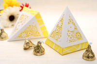 Favor Boxes Pink Paper hot creative design laser-cut pyramid yellow pink blue marriage charm Shower Favor Candy Boxes Wedding Party Gift hold bag 50pcs