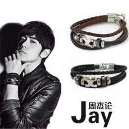 Les brunes en Ligne-les hommes de charme métal X croix de la marque de mode multicouche enveloppent bracelet en cuir noir couleurs brun fermoir en métal bracelet en cuir bracelet
