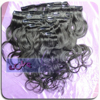 Wholesale Full head virgin clip in hair extensions human hair made can be dyed