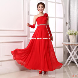 Wholesale Suzhou new shoulder edge you dream big red evening dress toast clothing evening dress chiffon dress welcome service lyg