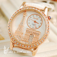Wholesale Luxury Crystal Diamond Eiffel Tower Lady Girl Quartz Wrist Dress Watch With Leather Strap Valentine s Day Gift