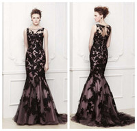 Wholesale 2014 Elegant Sheer Boat Prom Dress Special Celebrity Cocktail Dresses Purple Lining Black Lace Trumpet Wedding Party Evening Dress E13076