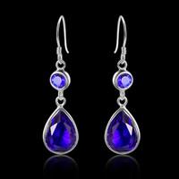 amethyst dangle earrings - 925 sterling silver luckyshine new arrive rhinestone women fashion earring E0363