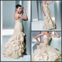 Wholesale Mermaid Wedding Dresses Spring Perfect Bridal Gowns Spaghetti Backless Satin Dress Cris Cross Pleat Tiered Gown Custom Made