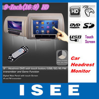 Wholesale 2012 New Universal HD inch Digital Touch Screen Car Headrest Monitor DVD Player Touch Buttons Game SD FM
