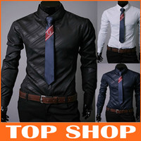 Wholesale Men s Clothes Obscure Twill Slim Business Casual Shirts Long sleeved Cotton Blended Mens Shirt Upper Garments FZ0049