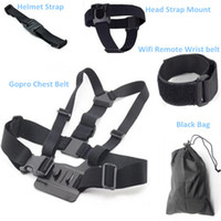 Wholesale Promotion Gopro Accessories Chest Belt WiFi Remote Wrist Belt Head Strap Mount Helmet Strap Bag for Go pro Hero3 HD Black Edition