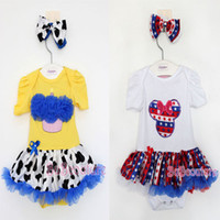 Cheap 2014 Cute Baby Rompers New Born Clothes Girl Baby Bodysuit Cake & Star Mickey with Headband