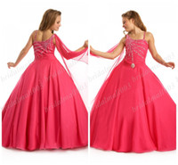 Wholesale Asymmetrical Ball Gown With Beading Sequins and Scarf Floor Length Backless Tulle Girl s Pageant Dress DH396