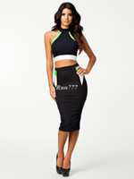 Wholesale 2014 Fashion sexy dress Trendy Black High Neck Top amp Pencil Skirt Dress Ball party Cocktail Bodycon for women