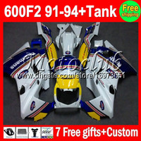 Comression Mold For Honda CBR600 F2 7gifts+Tank For Rothmans Blue HONDA CBR600F2 91-94 CBR600 F2 M#C6 CBR 600F2 600 F2 FS 91 92 93 94 1991 1992 1993 1994 Fairing white On sale
