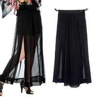 Chiffon Long  S5Q Womens Sexy Black Sheer Maxi See-Through Chiffon Side Splits Long Full Skirt AAAAWH
