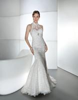 Wholesale 2014 Wedding Dresses Demetrios Halter Mermaid Ivory White Appliques High neck Beads Hem Lace Sleeveless Backless Sweep Train Custom Made