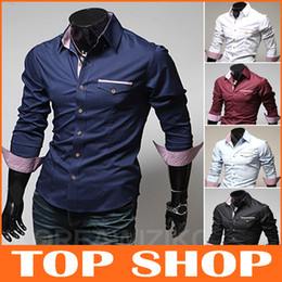 Wholesale England men s long sleeved shirt Men s Slim plaid shirt solid wild men sac side