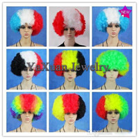 Wholesale Hot Design National Flag Design Color Wigs World Cup Cheering Props Souvenir Gift for Fans