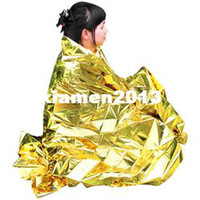 Wholesale Emergency blanket Survival Rescue curtain outdoor life saving blanket military silver plus gloden