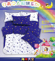 Wholesale 2014 New Arrival comforter bedding sets duvet cover Queen King size bed set stars moon print bedclothes bed in a bag