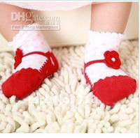 Wholesale HIGH QUALITY BABY GIRL MESH COTTON SOCKS ANTI SLIP BALLET SHOES DESIGN