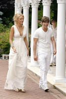 Wholesale Elegant chiffon pure white sexy Gossip Girl Serena party prom gowns deep V neck floor length backless A line Blake Lively celebrity dresses