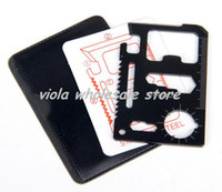 Wholesale 11 in Stainless Multi Emergency Survival Pocket Card Camping Knife Tool with Leather Case