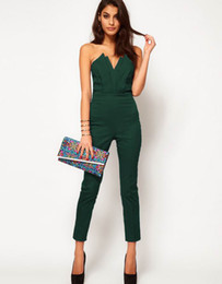 Wholesale Black and green Sexy Jumpsuits with Pleated Bust Origami Detail womans suits fashion Apparel YX6211