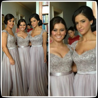 Wholesale 2014 Georges Hobeika Sweetheart Cap Sleeve Silver Floor Length Chiffon Bridesmaid Dresses Beaded Formal Ribbon Wedding Party Gowns