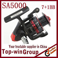 SA5000   7+1BB Aluminum Spool Free shipping Superior Metal Spinning Fishing Reel SA5000 5.5:1 GEAR RATIO TOPWIN