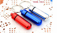 Wholesale 14x50mm Color Mix Aluminum Pill box Cache Container Geocache Key rings bottle keychain holder