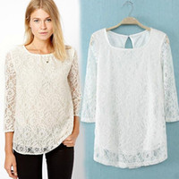 Lace   2014 Summer ZA Women Slim Embroidery Floral Crochet Lace blouse Sexy Hollow Blusa De Renda Blouses Tops Tee Casual Pullover dress