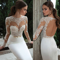 Trumpet/Mermaid Model Pictures Jewel New 2014 Sexy Illusion Jewel Neck Applique Backless Berta Bridal Long Sleeve Sheath Wedding Dresses Floor-Length Bridal Gowns Open Back