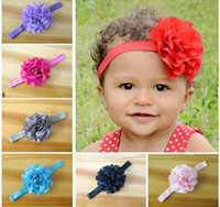 Headbands chiffon  Floral Infant Headbands Girl Chiffon Flower Headbands Children Hair Accessories Toddler Mesh Flower Elastic Hair band For Photography Props