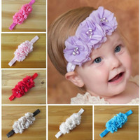 Headbands chiffon  Floral Infant Headbands Baby Girl Chiffon Flower Headbands Children Hair Accessories Toddler Triple Pearl Flower Hair band For Photography Props