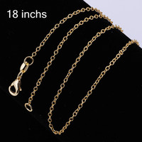 18k gold chain necklace - 50pcs K Gold Plated Jewelry mm Thin Chain Golden Chains Necklace inch cm