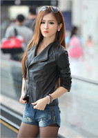 Wholesale 2014 new women jacket zipper Fashion Lady Winter Autumn Faux PU Leather Slim Womens Jackets Biker Coats Ladies Clothes
