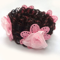 Wholesale 30pcs Fashion Girls Hair Accessories Flower Hair Buns Scrunchies Elastic hair band